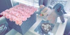Fabric (3D) Glitter Square Rose Boxes