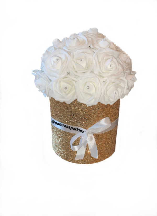 Fabric (3D) Glitter Round Rose Boxes