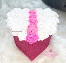 Fabric (3D) Glitter Heart Rose Boxes